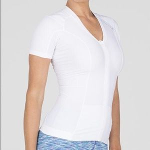 Alignmed Zip-Up White Posture Athletic Shirt